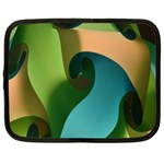 Ribbons Of Blue Aqua Green And Orange Woven Into A Curved Shape Form This Background Netbook Case (XL)  Front