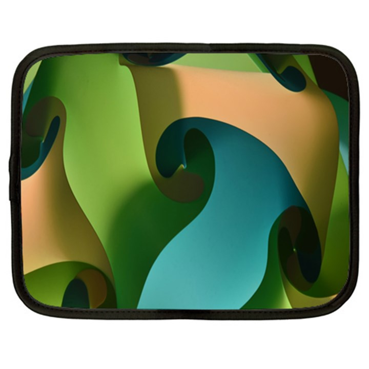Ribbons Of Blue Aqua Green And Orange Woven Into A Curved Shape Form This Background Netbook Case (XL)