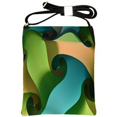 Ribbons Of Blue Aqua Green And Orange Woven Into A Curved Shape Form This Background Shoulder Sling Bags by Nexatart