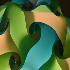Ribbons Of Blue Aqua Green And Orange Woven Into A Curved Shape Form This Background Magic Photo Cubes