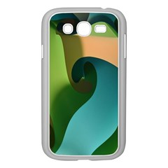Ribbons Of Blue Aqua Green And Orange Woven Into A Curved Shape Form This Background Samsung Galaxy Grand Duos I9082 Case (white) by Nexatart
