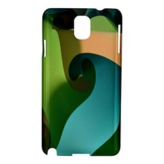 Ribbons Of Blue Aqua Green And Orange Woven Into A Curved Shape Form This Background Samsung Galaxy Note 3 N9005 Hardshell Case by Nexatart