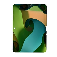 Ribbons Of Blue Aqua Green And Orange Woven Into A Curved Shape Form This Background Samsung Galaxy Tab 2 (10 1 ) P5100 Hardshell Case  by Nexatart