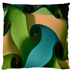 Ribbons Of Blue Aqua Green And Orange Woven Into A Curved Shape Form This Background Large Flano Cushion Case (two Sides) by Nexatart