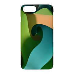 Ribbons Of Blue Aqua Green And Orange Woven Into A Curved Shape Form This Background Apple Iphone 7 Plus Hardshell Case