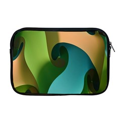Ribbons Of Blue Aqua Green And Orange Woven Into A Curved Shape Form This Background Apple Macbook Pro 17  Zipper Case