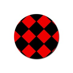 Red Black Square Pattern Rubber Round Coaster (4 Pack)  by Nexatart