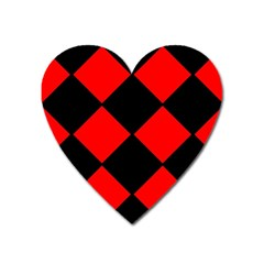 Red Black Square Pattern Heart Magnet by Nexatart