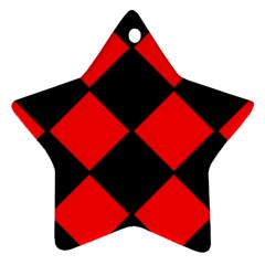 Red Black Square Pattern Star Ornament (two Sides) by Nexatart