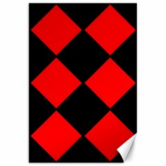 Red Black Square Pattern Canvas 20  X 30   by Nexatart