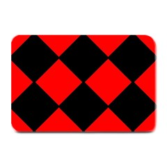 Red Black Square Pattern Plate Mats by Nexatart