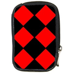 Red Black Square Pattern Compact Camera Cases by Nexatart