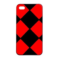 Red Black Square Pattern Apple Iphone 4/4s Seamless Case (black)