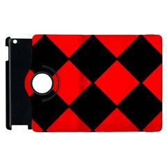 Red Black Square Pattern Apple Ipad 2 Flip 360 Case by Nexatart