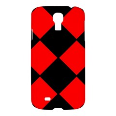 Red Black Square Pattern Samsung Galaxy S4 I9500/i9505 Hardshell Case by Nexatart