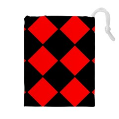 Red Black Square Pattern Drawstring Pouches (extra Large) by Nexatart
