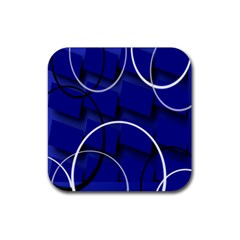Blue Abstract Pattern Rings Abstract Rubber Coaster (square)