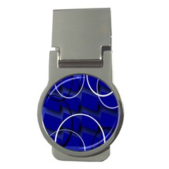 Blue Abstract Pattern Rings Abstract Money Clips (round)  by Nexatart