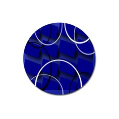 Blue Abstract Pattern Rings Abstract Magnet 3  (round)