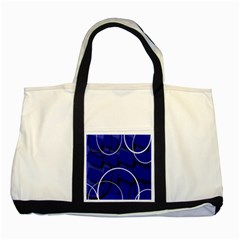 Blue Abstract Pattern Rings Abstract Two Tone Tote Bag by Nexatart
