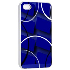 Blue Abstract Pattern Rings Abstract Apple Iphone 4/4s Seamless Case (white) by Nexatart