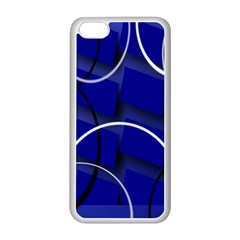 Blue Abstract Pattern Rings Abstract Apple Iphone 5c Seamless Case (white) by Nexatart