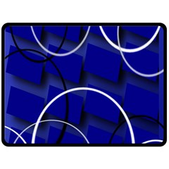 Blue Abstract Pattern Rings Abstract Double Sided Fleece Blanket (large)  by Nexatart