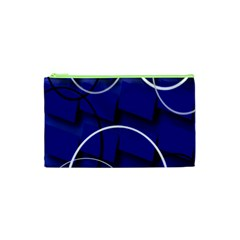 Blue Abstract Pattern Rings Abstract Cosmetic Bag (xs) by Nexatart