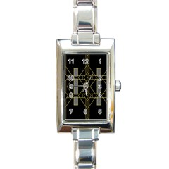 Simple Art Deco Style Art Pattern Rectangle Italian Charm Watch by Nexatart