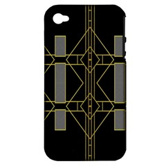 Simple Art Deco Style Art Pattern Apple Iphone 4/4s Hardshell Case (pc+silicone) by Nexatart