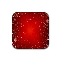 Red Holiday Background Red Abstract With Star Rubber Square Coaster (4 Pack)  by Nexatart