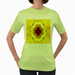 Yellow Digital Kaleidoskope Computer Graphic Women s Green T Shirt by Nexatart