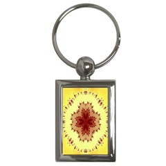 Yellow Digital Kaleidoskope Computer Graphic Key Chains (rectangle)  by Nexatart