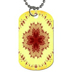 Yellow Digital Kaleidoskope Computer Graphic Dog Tag (two Sides) by Nexatart