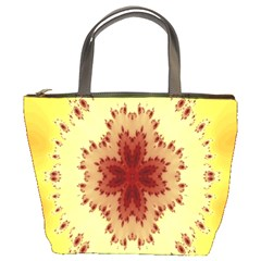 Yellow Digital Kaleidoskope Computer Graphic Bucket Bags