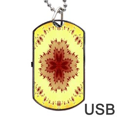 Yellow Digital Kaleidoskope Computer Graphic Dog Tag Usb Flash (one Side)