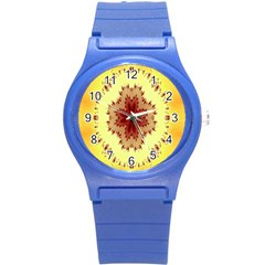Yellow Digital Kaleidoskope Computer Graphic Round Plastic Sport Watch (s) by Nexatart