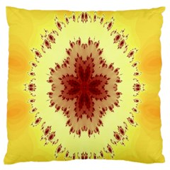 Yellow Digital Kaleidoskope Computer Graphic Large Flano Cushion Case (two Sides)