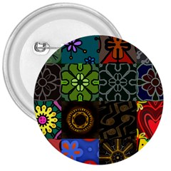 Digitally Created Abstract Patchwork Collage Pattern 3  Buttons by Nexatart