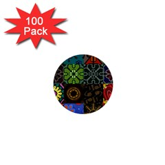 Digitally Created Abstract Patchwork Collage Pattern 1  Mini Buttons (100 Pack)  by Nexatart