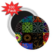 Digitally Created Abstract Patchwork Collage Pattern 2 25  Magnets (100 Pack)  by Nexatart