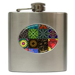 Digitally Created Abstract Patchwork Collage Pattern Hip Flask (6 Oz) by Nexatart