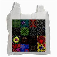 Digitally Created Abstract Patchwork Collage Pattern Recycle Bag (one Side)