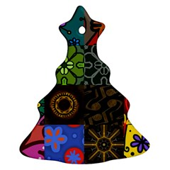 Digitally Created Abstract Patchwork Collage Pattern Ornament (christmas Tree)  by Nexatart