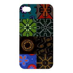 Digitally Created Abstract Patchwork Collage Pattern Apple Iphone 4/4s Premium Hardshell Case