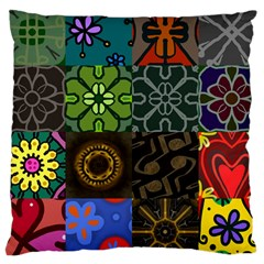 Digitally Created Abstract Patchwork Collage Pattern Large Cushion Case (two Sides) by Nexatart