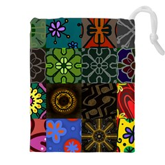 Digitally Created Abstract Patchwork Collage Pattern Drawstring Pouches (xxl)