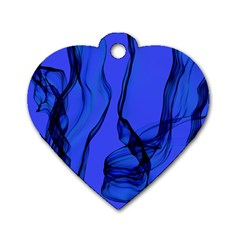 Blue Velvet Ribbon Background Dog Tag Heart (one Side) by Nexatart