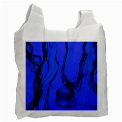 Blue Velvet Ribbon Background Recycle Bag (one Side) by Nexatart