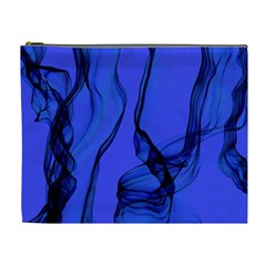 Blue Velvet Ribbon Background Cosmetic Bag (xl) by Nexatart